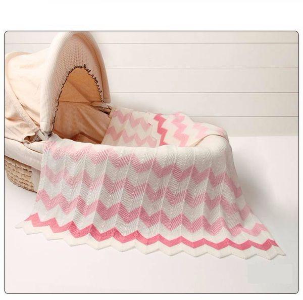 Knitted Infant Baby Basket Blanket Summer Air Conditioning Toddler Bedding Quilt Newborn Super Soft Swaddle Wrap Blankets Stripe