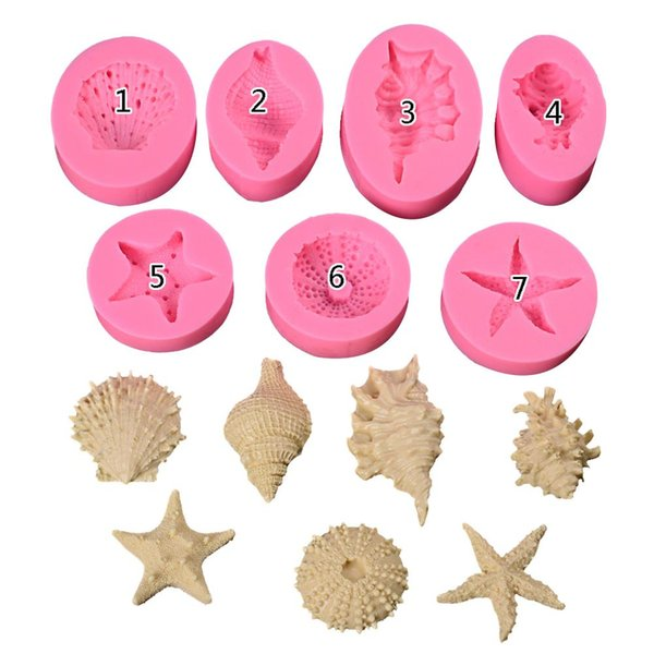 Ocean Series Pearl Conch Starfish Shell Seashell Silicone Mold Fondant Cake Baking Mould Handmade Soap Mold Baking Tool