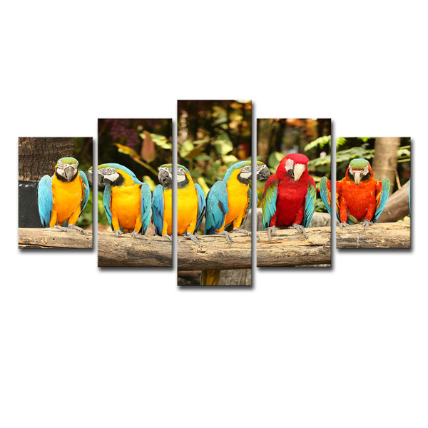 Canvas Paintings Wall Art Home Decor Living Room HD Printed 5 Pieces Parrot Group Poster Feather Colorful Birds Modular Pictures