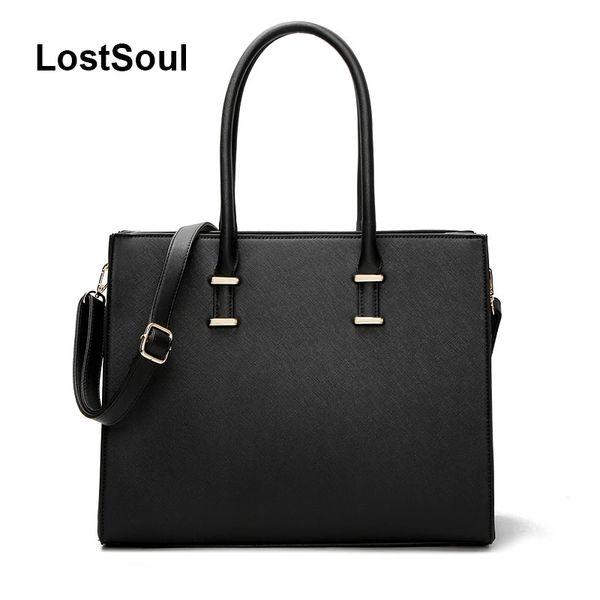 LostSoul brand women leather handbags toothpick stripes briefcase Top-Handle bags designer business shoulder ladies totes black