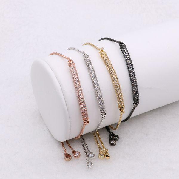 10 Pieces Micro Pave Small Stone Retangle Charm Adjustable Link Chain Macrame Bracelet for Women Men