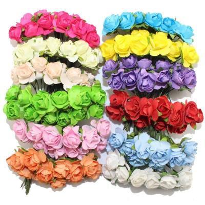 144pcs artificiali fiori di carta decorazione di nozze rose false utilizzate per la decorazione Candy box fai da te corona fatta a mano
