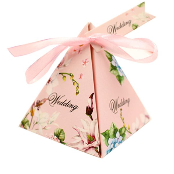 100pcs/lot Pyramid Style Wedding Favour Boxes Sweet Spring Flower Party Favor Candy Boxes with Ribbon Tag