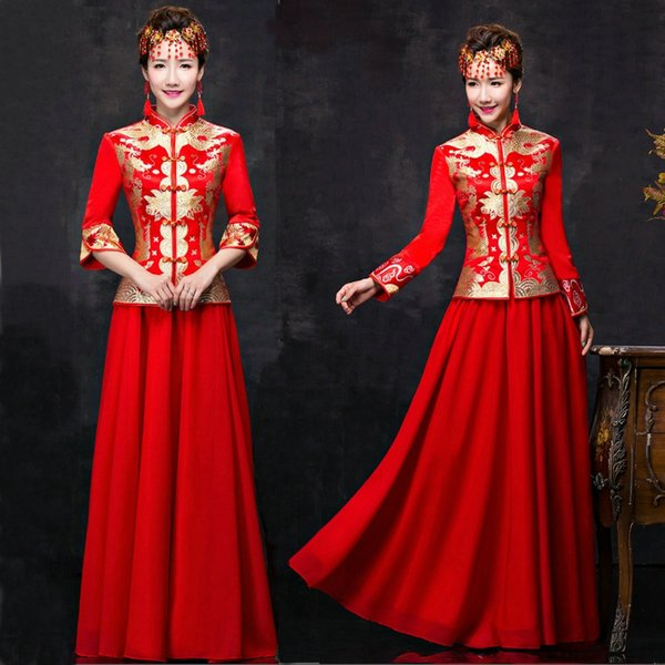 HF228 Dragon gown bride wedding dress chinese style costume Phoenix cheongsam evening dress show clothing slim Style for the Wedding