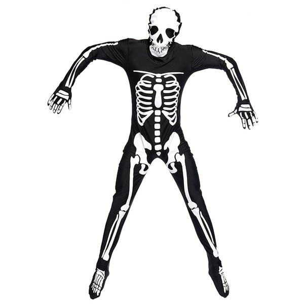 Umorden Halloween Purim fiesta traje hombre adulto miedo cráneo esqueleto disfraces mono largo traje Zentai para hombres