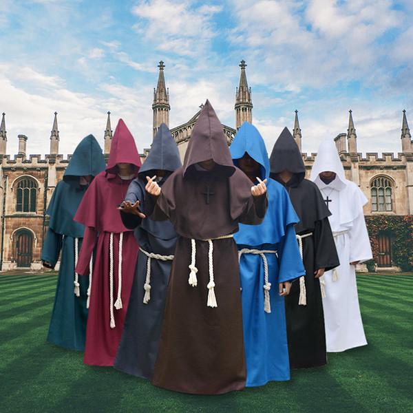 Uomini adulti di Halloween Monaci Medievali Monaco Abito Costume Cosplay Cosplay Abbigliamento A-694
