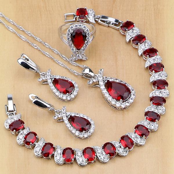 ensemble sale925 bijoux en argent sterling rouge australien cristal blanc cz ensembles de bijoux pour les femmes boucles d'oreilles / pendentif / collier / bague / bracelet