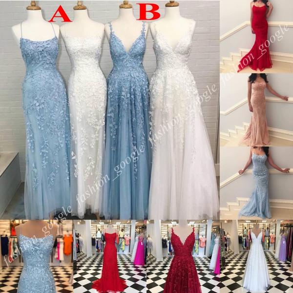 Apliques de Renda Vestidos de Baile 2019 Espaguete Pescoço Bainha A Linha 2 Estilos Longo Formal Vestido de Festa Fotos Reais 4 Cores Diferentes