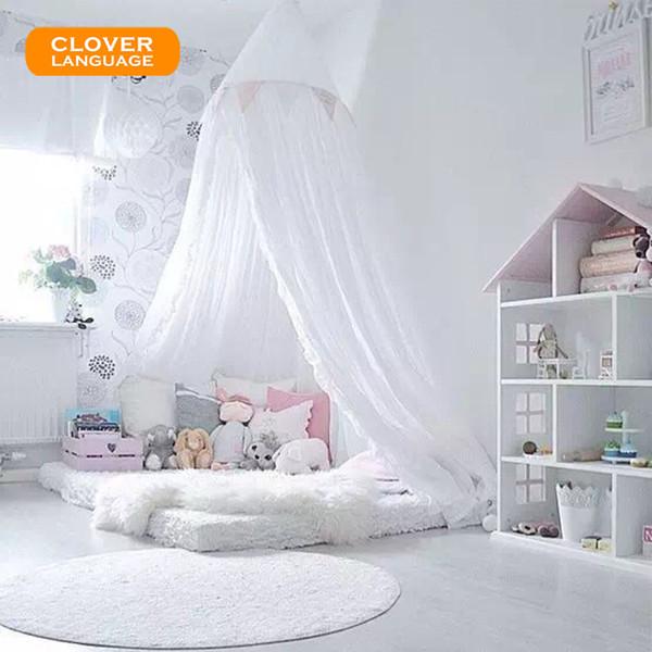 Großhandel CLOVER LANGUAGE Nordic White Dome Bett Netze Kind Jungen Mädchen  Kinderzimmer Dekoration Baby Bett Runde Moskitonetz Zelt Vorhänge Von ...