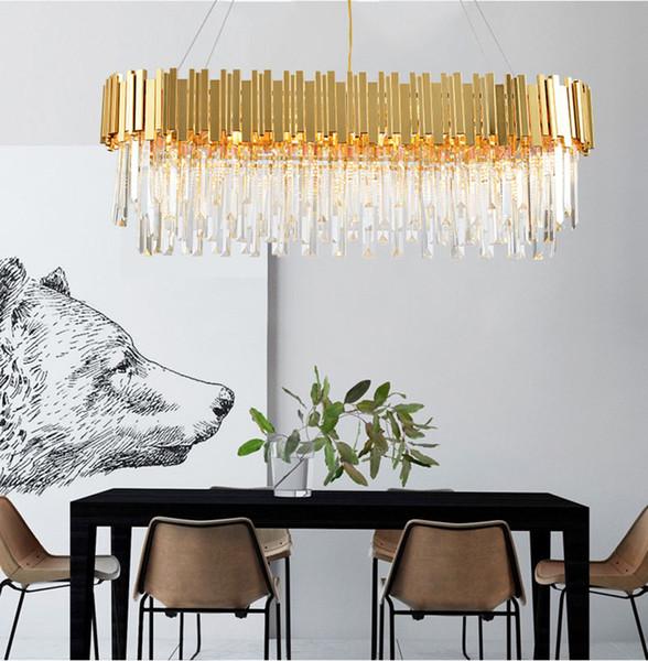 Villa oturma odası avize enerji tasarrufu LED ışık kaynağı K9 kristal ve paslanmaz çelik boya altın LED ampul duvar anahtarı