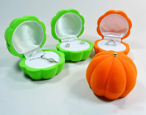 2018 new Fashion Velvet Package Box Orange Green Pumpkin Jewelry Box Earring Necklace Ring Box Gift Halloween Christmas