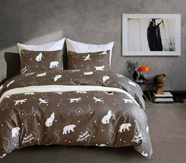 Free shipping es constellation polar bear wolf bedding duvet cover set pillow case US twin queen king size,2-sides print