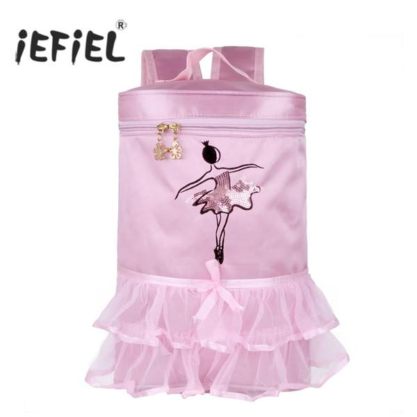 IEFiEL Hot Crianças Meninas Adorável Ballet Dance Bag Bordado Princesa Bailarina Dança Tiered Ruffled Tutu Bag Mochila