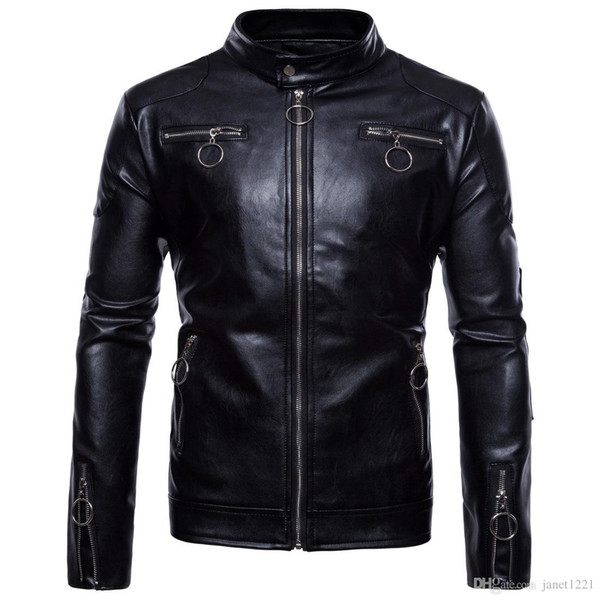 5XL Winter Jackets For Men Outdoor PU Brown Black Fall Winter Spring long Motorcycle Soft Shell leather sleeve denim Mens Jackets J180752