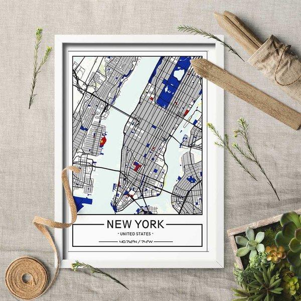 Custom Print City Art MAP Celestial Mondrian Canvas Painting Wall Art Picture Custom City MAP Wall for Home Decor No Frame