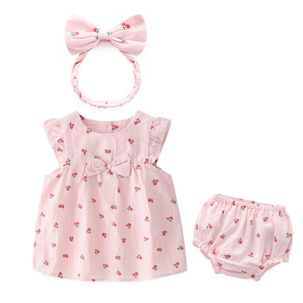 2019 Summer Boutique girl clothing Baby girl cherry Bow dress +panties+headband 3pcs 100% cotton Hotsale 6 9 12 18 24M 3T