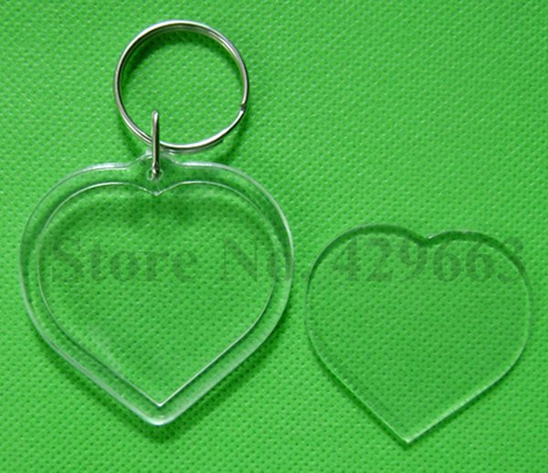 Free shipping 300pcs Heart Shaped DIY Acrylic Blank Picture Frame Keychains Transparent Blank Insert Photo Keychains