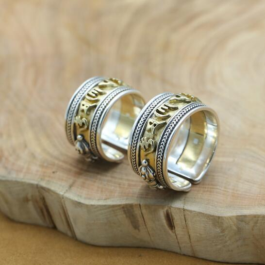 Vintage Echt 925 Silber Tibetischen OM Mani Padme Hum Ring Sterling Buddhistischer OM Mantra Ring Reines Silber Tibetischen Einstellbar