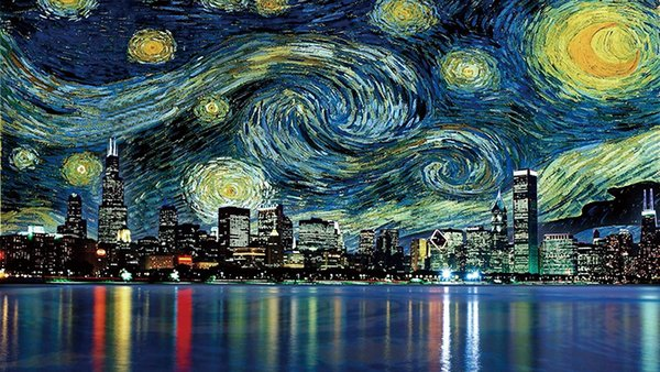 Van Gogh City Looks up at Starry Sky Print Art Canvas Poster HD Oil Painting Wall Art Painting Poster Home Decor