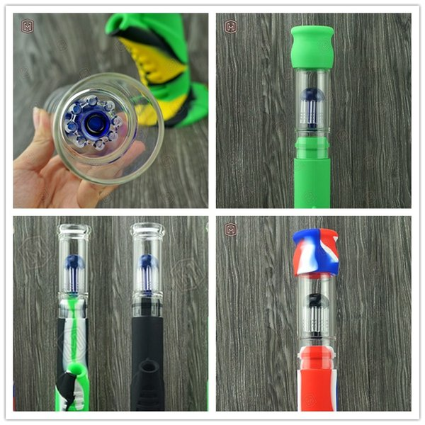 Newest Silicone bong with Honey Glass filter Hight Qualtiy Oil rig Bongs Water Pipes Colorful Glass Oil Bubbler pipes