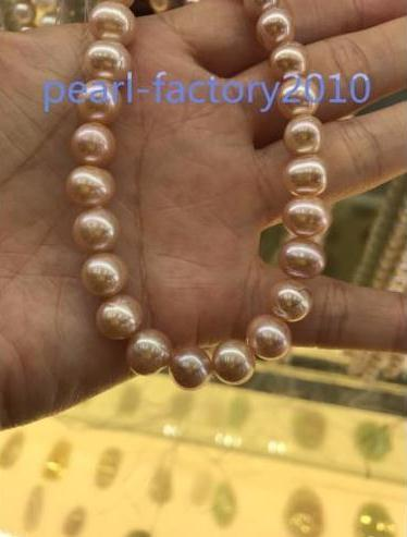 """AAAAA Japanese Akoya gold pink Pearl 9-10 mm,14K Gold Necklace 18"""" Top Grading"""