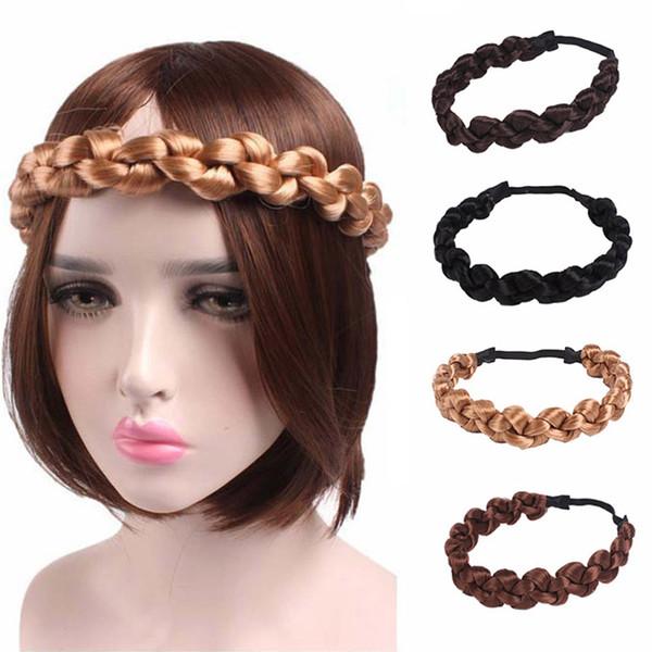 1 Pcs Sintético Peruca Torção Headband Moda Tranças Mulheres Acessórios Para o Cabelo Feminino Bohemian Plait Hairbands Elásticas