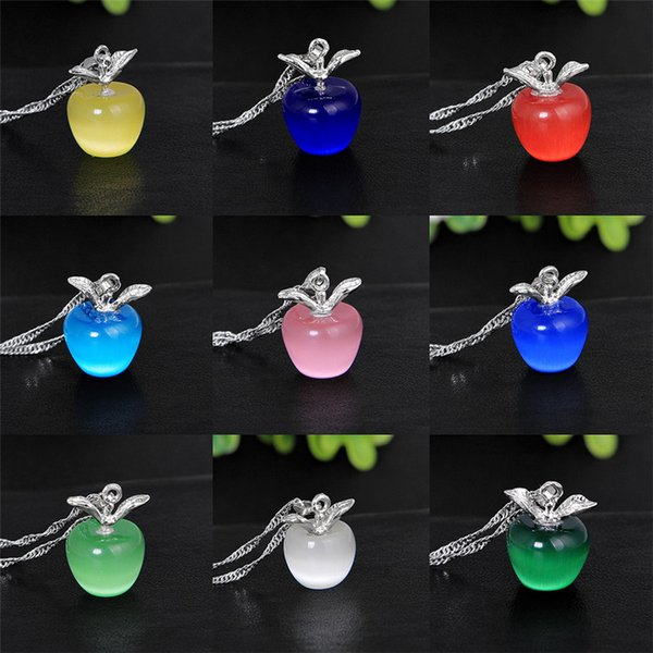 Lovely Apple Necklaces Pendant Crystal Silver Plating Cat Eye Apple Jewelry DIY Necklace Gifts For Her