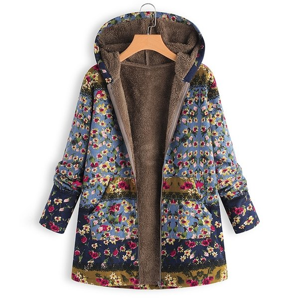Großhandel Frauen Fleece Jacken Winter Mit Kapuze Zip Coat Floral Lässige Warme Parka Sweatshirt Weiblichen Mantel Streetwear Kostenloser Versand Von