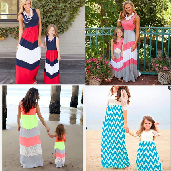 best selling Mother Daughter Matching Dresses Family Matching Outfits Summer Mom Girls Long Dresses Soft Cotton Mom and Me Dresses TIANGELTG