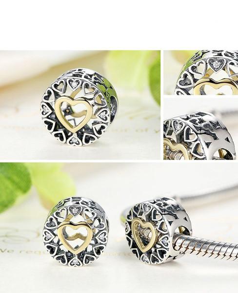 5 pz / lotto cerchio di charms in argento 925 sterling adatto f9r pandora stile bracciali 792009CZ H9