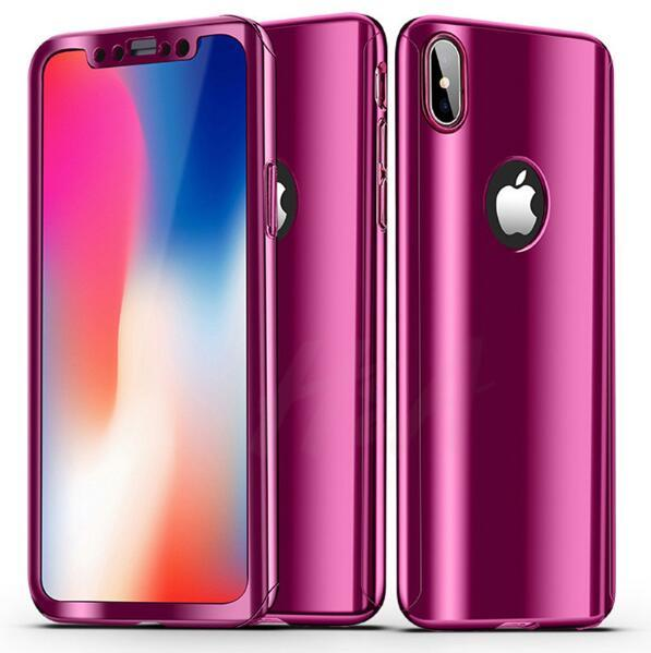 New 360 Degree Full body Electroplate Plating Mirror Hard PC Cell phone Case Cover For iPhone X 8 7 6 6S Plus with Tempered Glass Screen