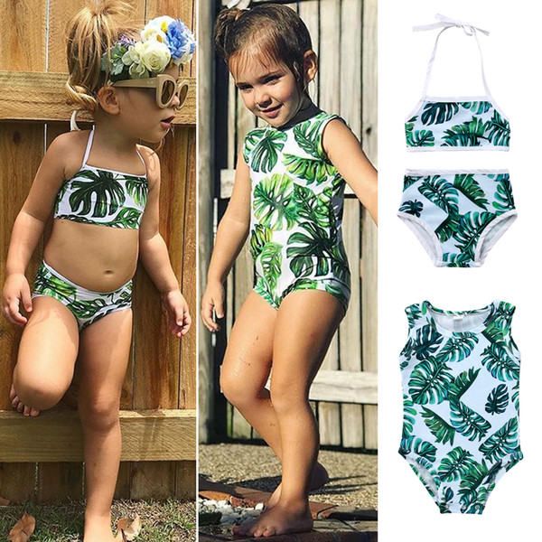 best selling 2018 Swimsuit Kids Baby Girls Green Tankini Bikini Swimwear Bathing Suit Green Summer Cute Two-pieces or One-piece Set Beachwear Clothing