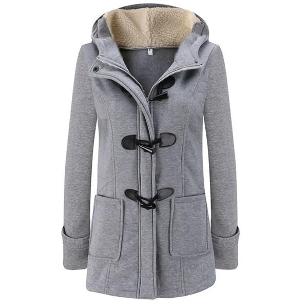 Moda Outono Mulheres Mistura De Lã Duffle Casaco Sobretudo Senhoras Com Capuz Gola de Manga Longa Casaco Jaqueta Slim Fit Zipper Outwear YF158