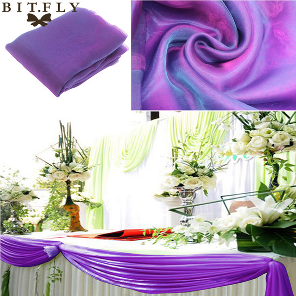 skirt top Champagne 5M*1.35m Organza fabric Wedding Decoration top swag curtain Party Chair Sash Bow Runner Swag table skirt