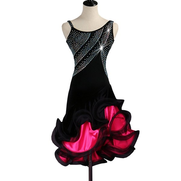 Latin Dance Dress Women CHEAPEST Fringed Dress D0262 Salsa Dance Wear Lyrical Dance Costumes with Fluffy Hem 3 Colors