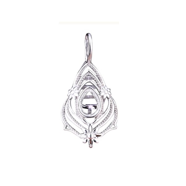 Fine Silver 925 Sterling Silver Pendant 5x7mm Pear Cabochon Semi Mount Pendant Clasp for Women White Gold Color DIY Stone for Amber Setting
