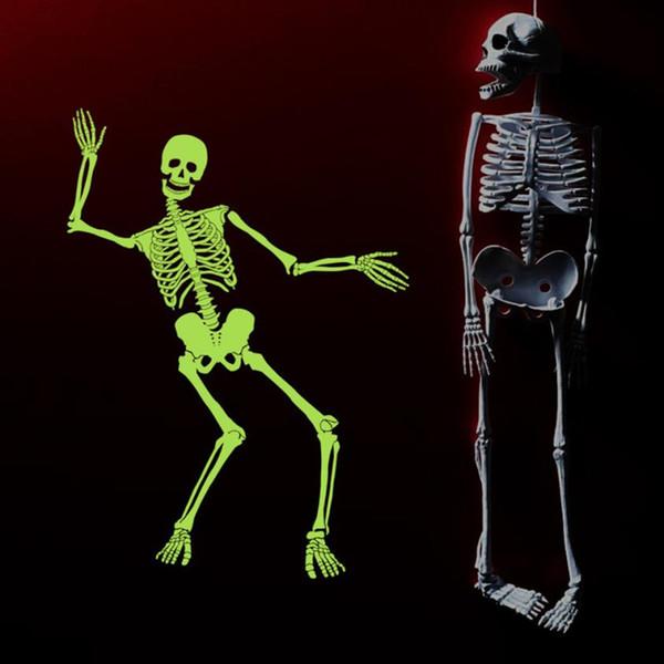 Halloween Luminous Skeleton Skull Sticker Creative Haunted House Bar Corner Shop Window Wall Decor Fluorescent Sticker Decoration