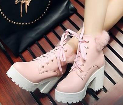 New Arrival Hot Sale Specials Super Fashion Influx Roman Martin Retro Knight Platform Sweet Rabbit Hair Lace Up Heels Ankle Boots EU34-43