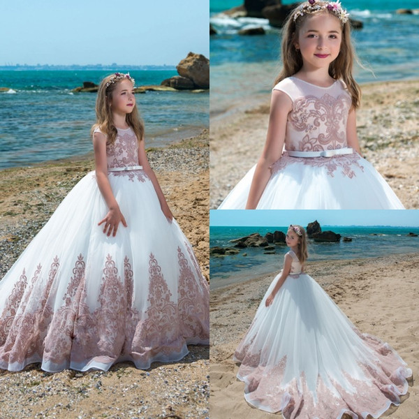 2018 Spring Flower Girls Dresses For Weddings Vintage Jewel Neck Sash Lace Net Baby Girl Birthday Party Gowns Kids First Communion Dress