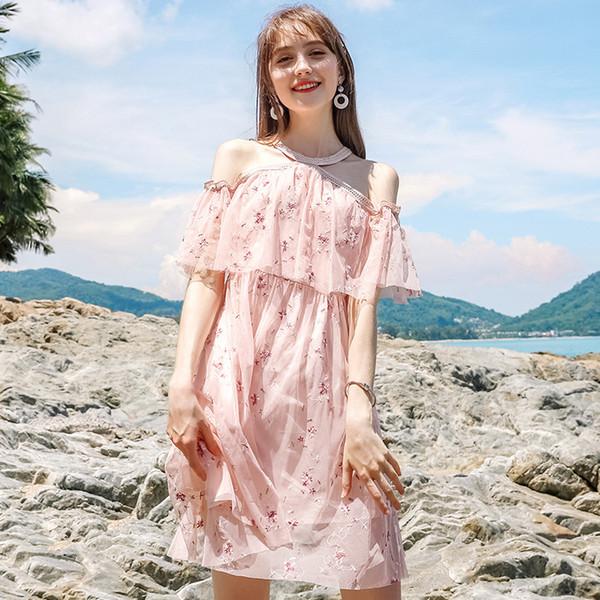 Kleid-Frauen reizvolle Neckholder-schicke Damestickerei der Frauen des Sommers 2018 druckte Chiffon- Kleid freies Verschiffen