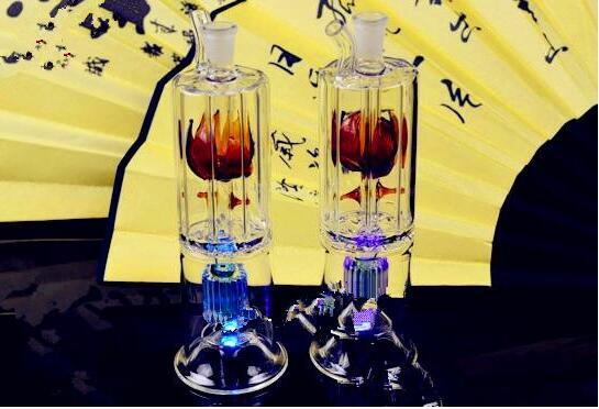 Flower Core Hookah Two Layer Layer ,Wholesale Bongs Oil Burner Pipes Water Pipes Glass Pipe Oil Rigs Smoking Free Shipping