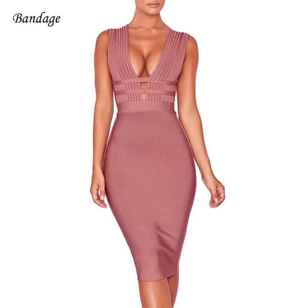 2018 recién llegado de verano de las mujeres vestido del vendaje Vestidos nuevo tanque sexy escote en V sin mangas Bodycon Club Celebrity vestidos de fiesta