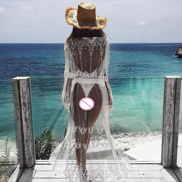 Ropa de playa de las mujeres Sexy bordado de encaje Kimono Cardigan Perspectiva cubrir hasta la blusa larga Verano Boho Beach Tops Ladies Shirt Blusas
