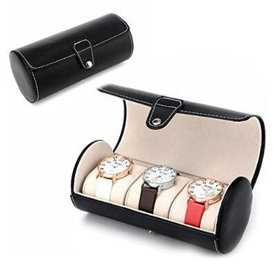 3 Grid Portable Travel Watch Case Roll 3 Slot Wristwatch Box Storage Travel Pouch Wristwatch Display Storage Watch Box 19*9cm CCA10569 20pcs