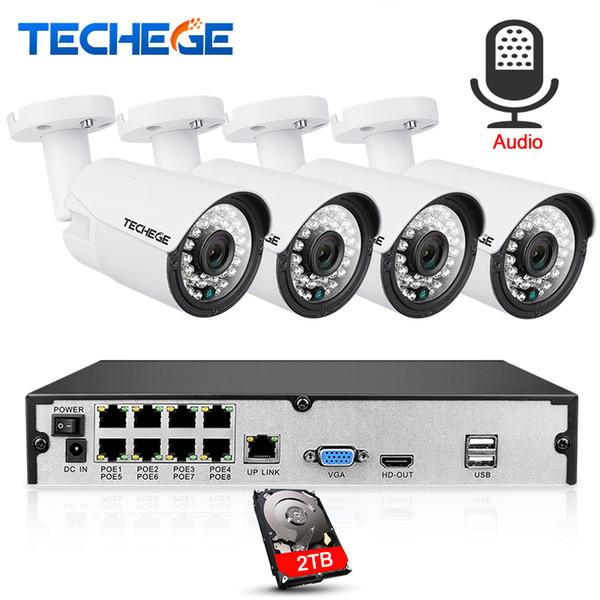 8CH 1080P CCTV System Audio Record 2MP 3000TVL PoE IP Camera P2P Waterproof Outdoor IR Night Vision Video Surveillance system
