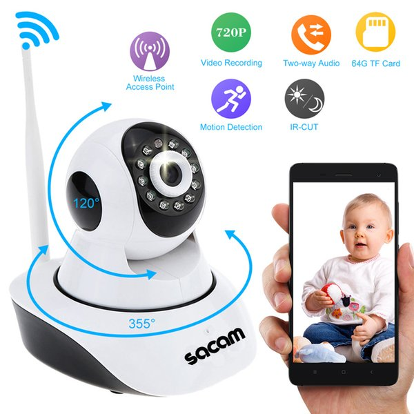 HD Wireless IP Camera for Home Security Surveillance via WiFi Internet with Night Vision and Two Way Audio Support 64GB TF Card