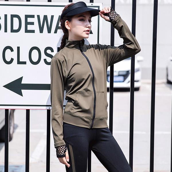 Transpirable Mesh Yoga Top 2017 ropa deportiva mujer camiseta deportiva traje de cremallera corriendo camisa gimnasio ropa de fitness deportes chaqueta