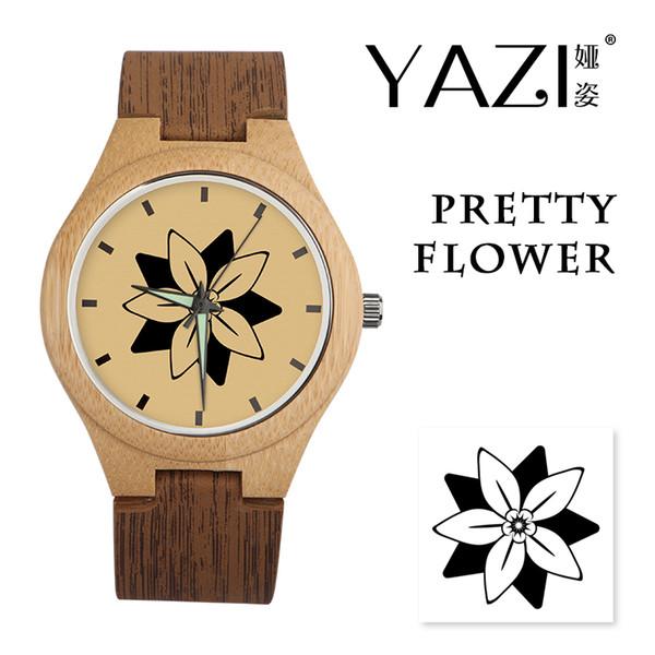 YAZI kreative hölzerne Uhr Schneeflocke Design Lucky Logo Quarzuhr natürliche Bambus Holzgehäuse Armbanduhren Holz Streifen Band