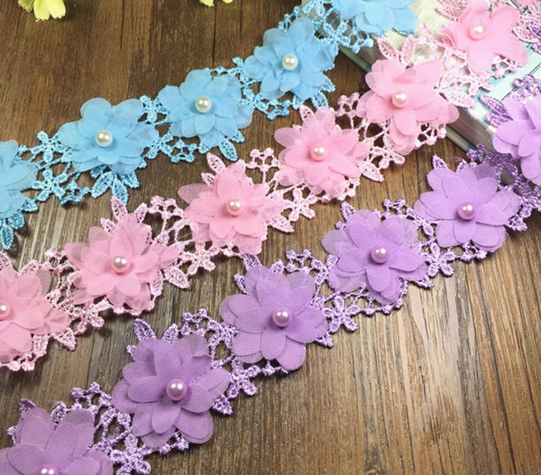 15 Yard Pearl beaded Flower chiffion Lace Fabric Trim Ribbon For Apparel Sewing DIY Doll Cap Hair clip