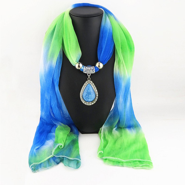 Fashion Women Vintage Charms Gradient Color Water Drop Pendant Jewelry Scarves Necklace Colored Scarf Newest 2017